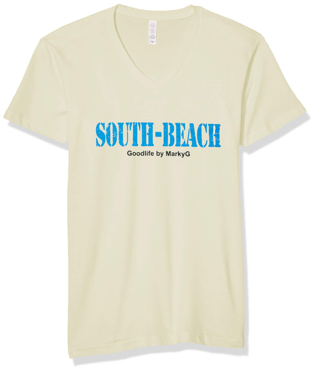 Marky G Apparel Men's South Beach Graphic Printed Premium Tops Fitted Sueded Short Sleeve V-Neck T-Shirt - Clementine Apparel