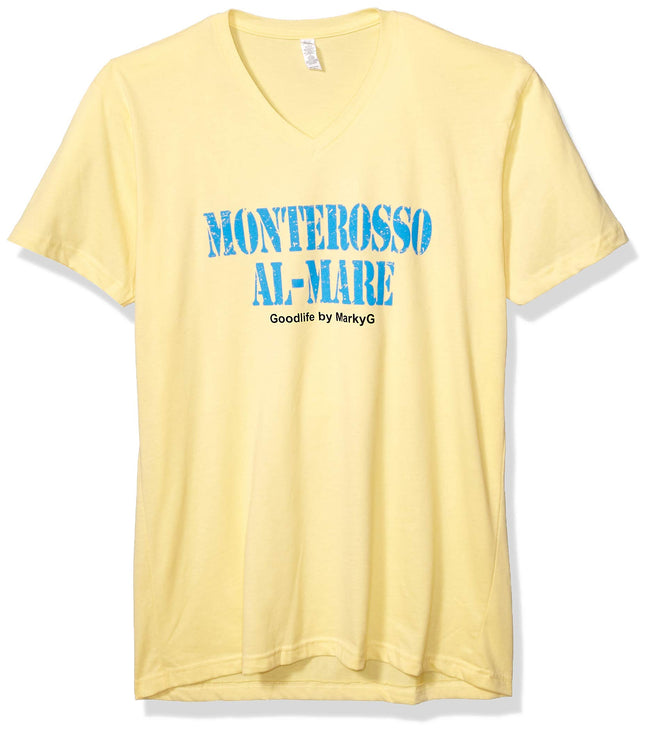 Marky G Apparel Men's Monterosso Al Mare Graphic Printed Premium Tops Fitted Sueded Short Sleeve V-Neck T-Shirt - Clementine Apparel