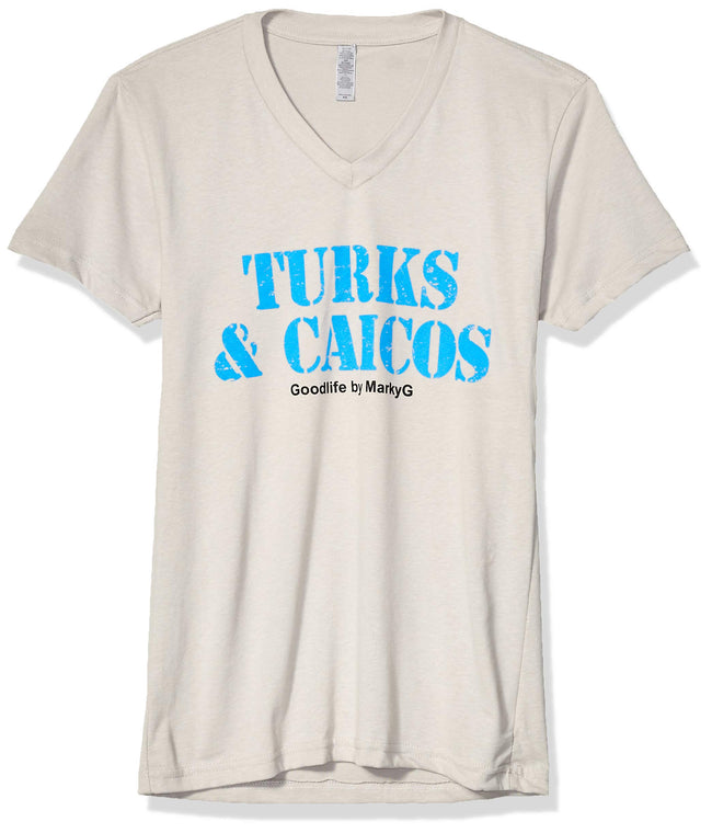 Marky G Apparel Men's Turks & Caicos Graphic Printed Premium Tops Fitted Sueded Short Sleeve V-Neck T-Shirt - Clementine Apparel