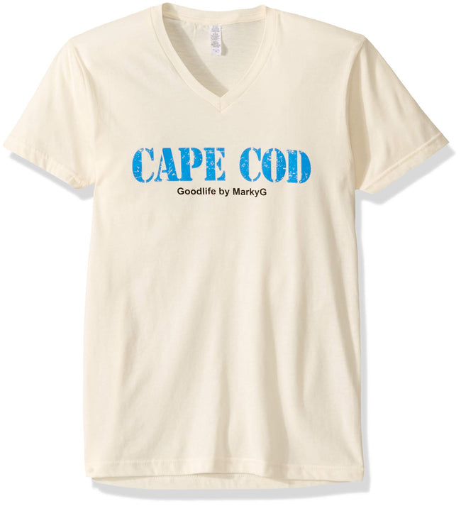 Marky G Apparel Men's Cape Cod Graphic Printed Premium Tops Fitted Sueded Short Sleeve V-Neck T-Shirt - Clementine Apparel