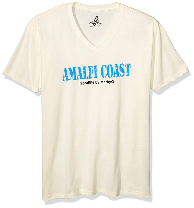 Marky G Apparel Men's Amalfi Coast Graphic Printed Premium Tops Fitted Sueded Short Sleeve V-Neck T-Shirt - Clementine Apparel