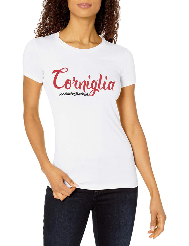 Marky G Apparel Women's Casual Short Sleeve Crewneck Tops Slim Fit T-Shirt With Corniglia Printed - Clementine Apparel