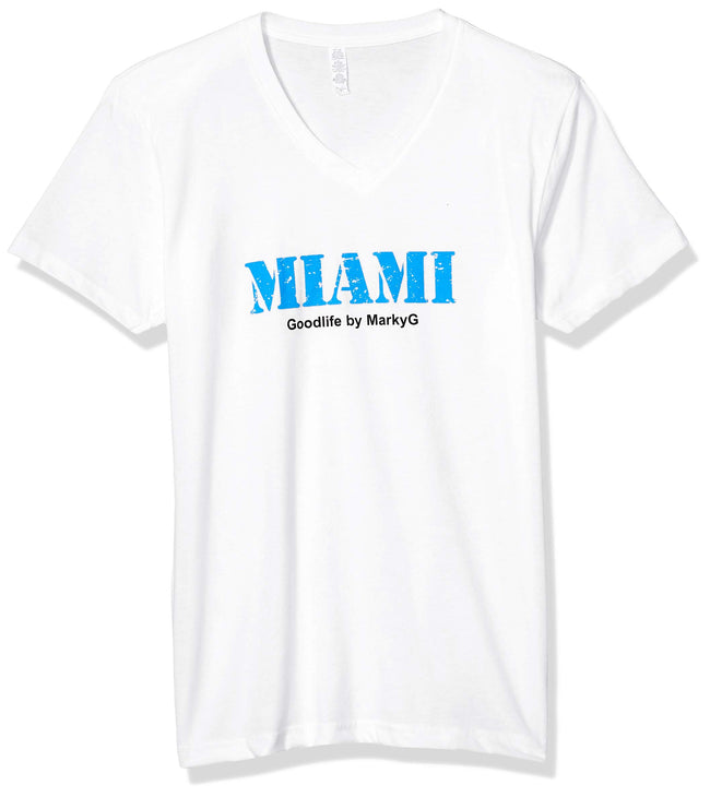 Marky G Apparel Men's Miami Graphic Printed Premium Tops Fitted Sueded Short Sleeve V-Neck T-Shirt - Clementine Apparel