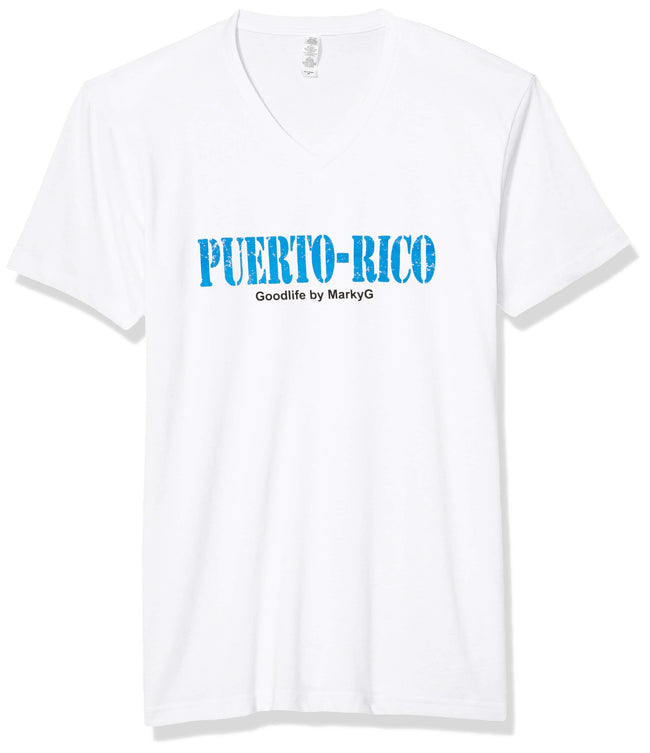 Marky G Apparel Men's Puerto Rico Graphic Printed Premium Tops Fitted Sueded Short Sleeve V-Neck T-Shirt - Clementine Apparel