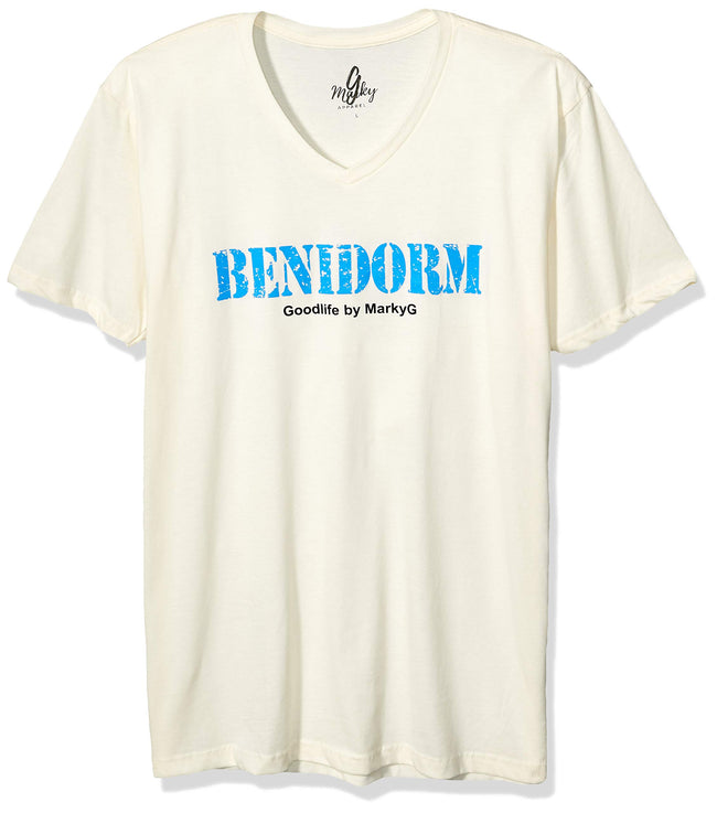 Marky G Apparel Men's Benidorm Graphic Printed Premium Tops Fitted Sueded Short Sleeve V-Neck T-Shirt - Clementine Apparel