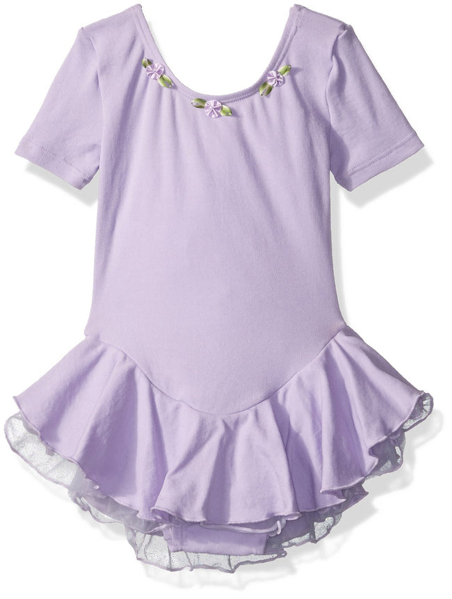 Clementine Little Girls' Charming Short Sleeve Skirted Leotard - Clementine Apparel