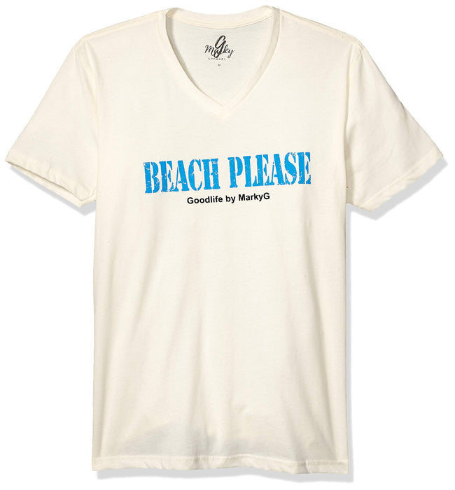 Marky G Apparel Men's Beach Please Graphic Printed Premium Tops Fitted Sueded Short Sleeve V-Neck T-Shirt - Clementine Apparel