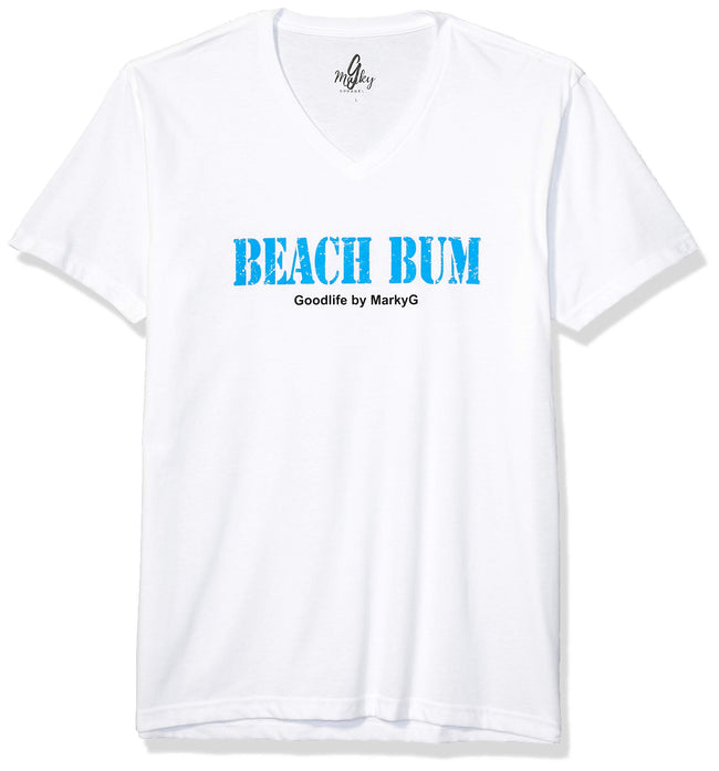 Marky G Apparel Men's Beach Bum Graphic Printed Premium Tops Fitted Sueded Short Sleeve V-Neck T-Shirt - Clementine Apparel