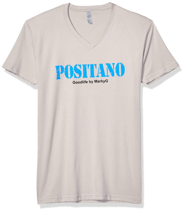 Marky G Apparel Men's Positano Graphic Printed Premium Tops Fitted Sueded Short Sleeve V-Neck T-Shirt - Clementine Apparel