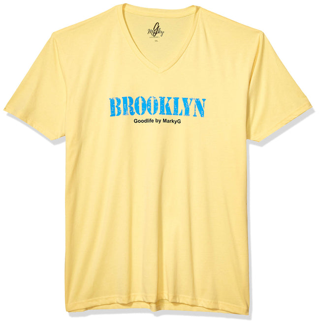 Marky G Apparel Men's Brooklyn Graphic Printed Premium Tops Fitted Sueded Short Sleeve V-Neck T-Shirt - Clementine Apparel