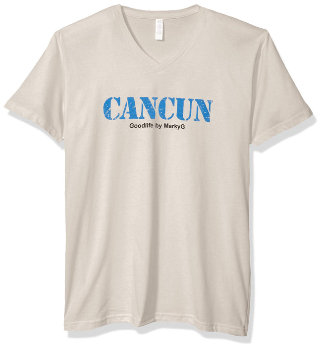 Marky G Apparel Men's Cancun Graphic Printed Premium Tops Fitted Sueded Short Sleeve V-Neck T-Shirt - Clementine Apparel