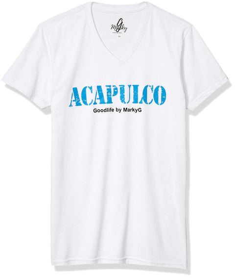 Marky G Apparel Men's Acapulco Graphic Printed Premium Tops Fitted Sueded Short Sleeve V-Neck T-Shirt - Clementine Apparel