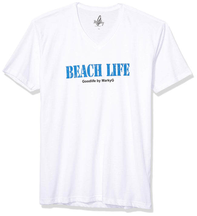 Marky G Apparel Men's Beach Life Graphic Printed Premium Tops Fitted Sueded Short Sleeve V-Neck T-Shirt - Clementine Apparel