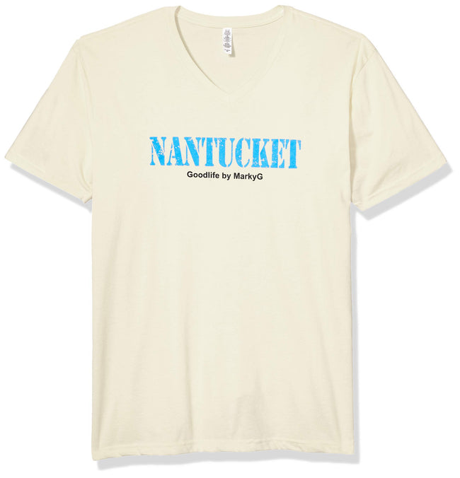 Marky G Apparel Men's Nantucket Graphic Printed Premium Tops Fitted Sueded Short Sleeve V-Neck T-Shirt - Clementine Apparel