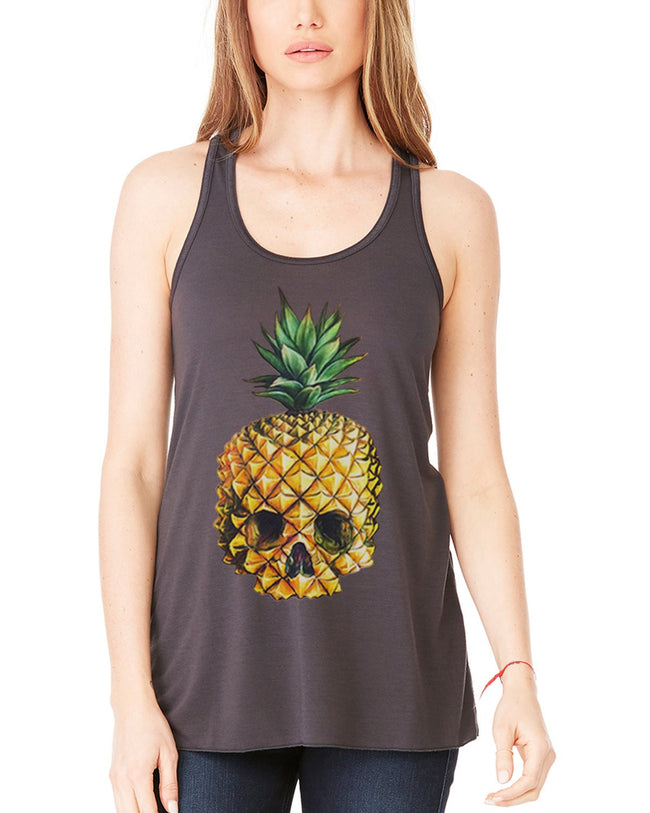 Clementine Women's Petite Plus Pineapple Skull Printed Flowy Racerback Tank - Clementine Apparel