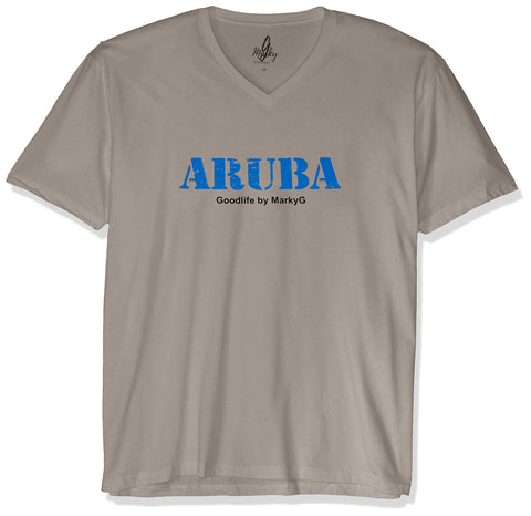 Marky G Apparel Men's Aruba Graphic Printed Premium Tops Fitted Sueded Short Sleeve V-Neck T-Shirt - Clementine Apparel
