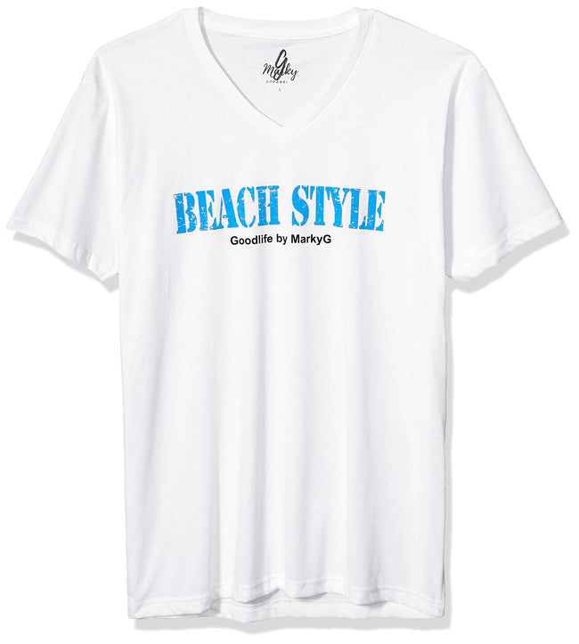 Marky G Apparel Men's Beach Style Graphic Printed Premium Tops Fitted Sueded Short Sleeve V-Neck T-Shirt - Clementine Apparel