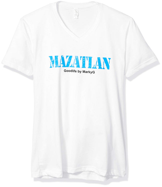 Marky G Apparel Men's Mazatlan Graphic Printed Premium Tops Fitted Sueded Short Sleeve V-Neck T-Shirt - Clementine Apparel