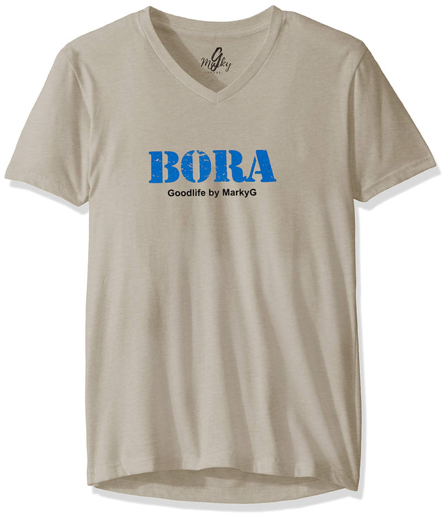 Marky G Apparel Men's Bora Bora Graphic Printed Premium Tops Fitted Sueded Short Sleeve V-Neck T-Shirt - Clementine Apparel