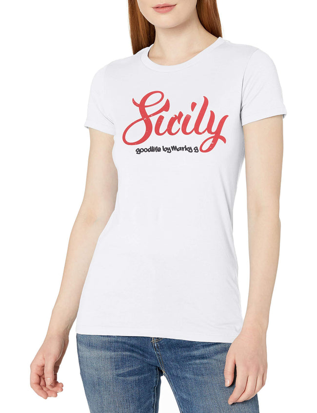 Marky G Apparel Women's Casual Short Sleeve Crewneck Tops Blouses Slim Fit T-Shirt With Sicily Printed - Clementine Apparel