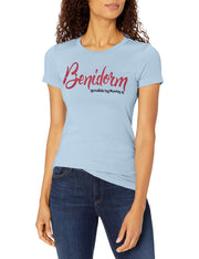 Marky G Apparel Women's Casual Short Sleeve Crewneck Tops Blouses Slim Fit T-Shirt With Benidorm Printed - Clementine Apparel