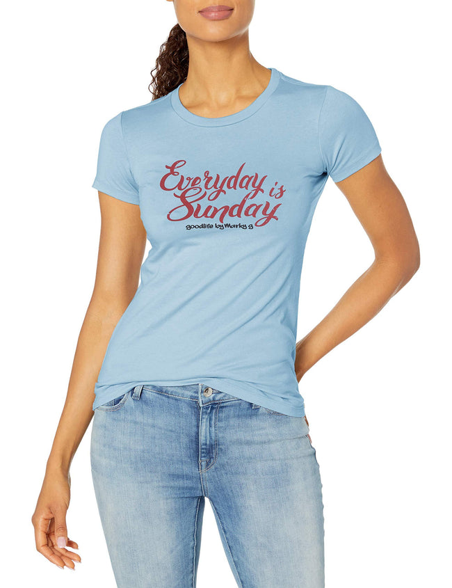 Marky G Apparel - Women's Casual Short Sleeve Crewneck Tops Slim Fit T-Shirt with Beach Time Printed - Clementine Apparel
