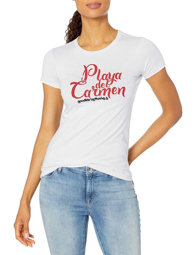 Marky G Apparel Women's Casual Short Sleeve Crewneck Tops Slim Fit T-Shirt With Playa Del Carmen Printed - Clementine Apparel