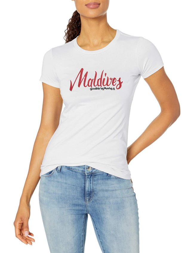 Marky G Apparel Women's Casual Short Sleeve Crewneck Tops Blouses Slim Fit T-Shirt With Maldives Printed - Clementine Apparel