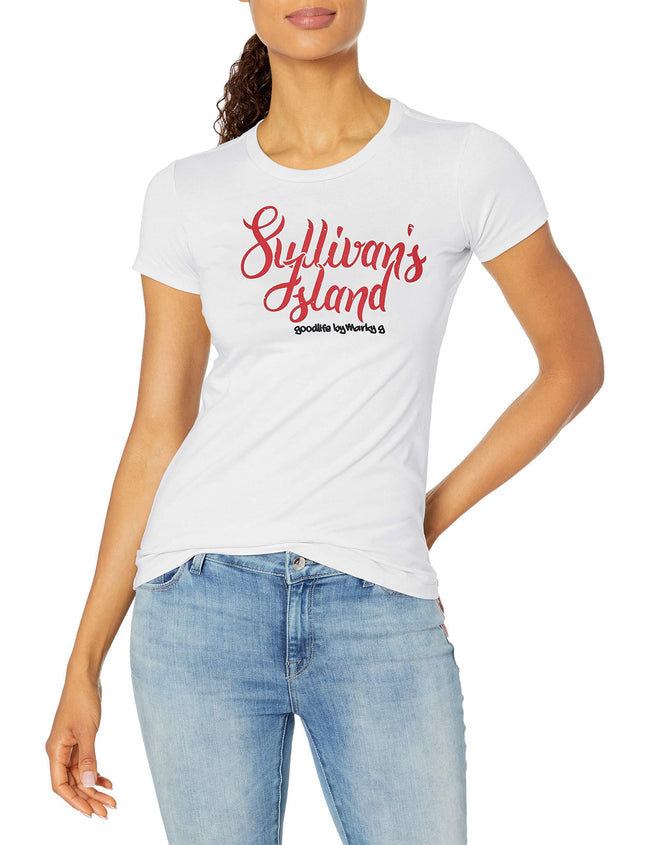Marky G Apparel Women's Casual Short Sleeve Crewneck Tops Slim Fit T-Shirt With Sullivan Island Printed - Clementine Apparel