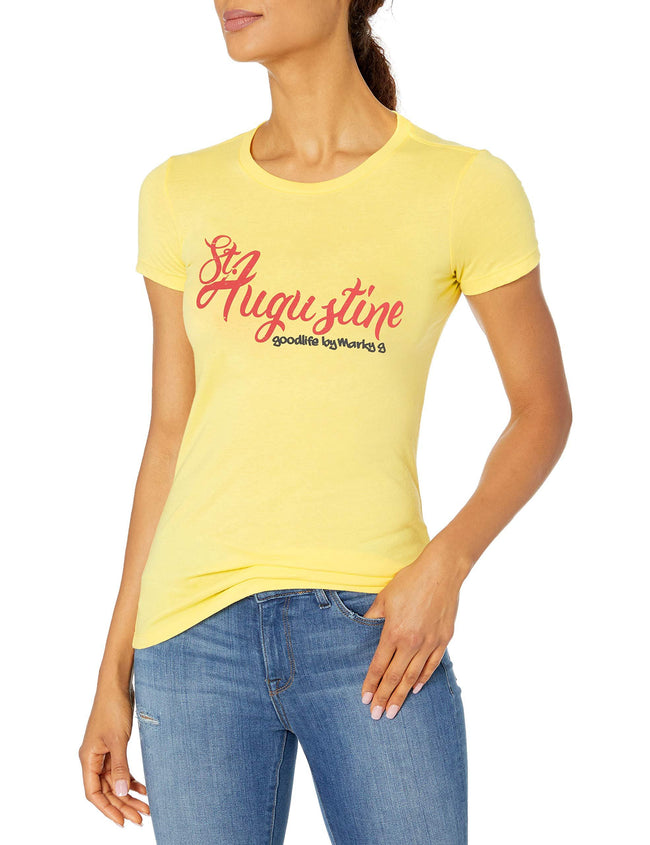 Marky G Apparel Women's Casual Short Sleeve Crewneck Tops Slim Fit T-Shirt With St. Augustine Printed - Clementine Apparel