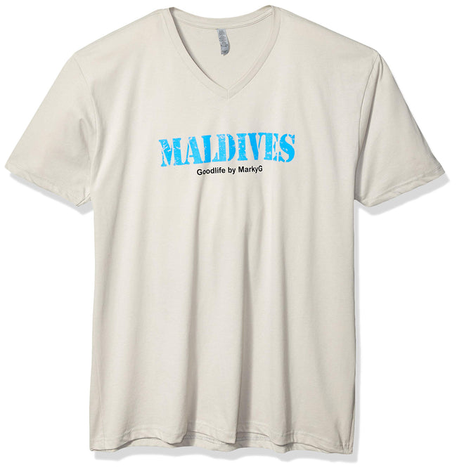Marky G Apparel Men's Maldives Graphic Printed Premium Tops Fitted Sueded Short Sleeve V-Neck T-Shirt - Clementine Apparel