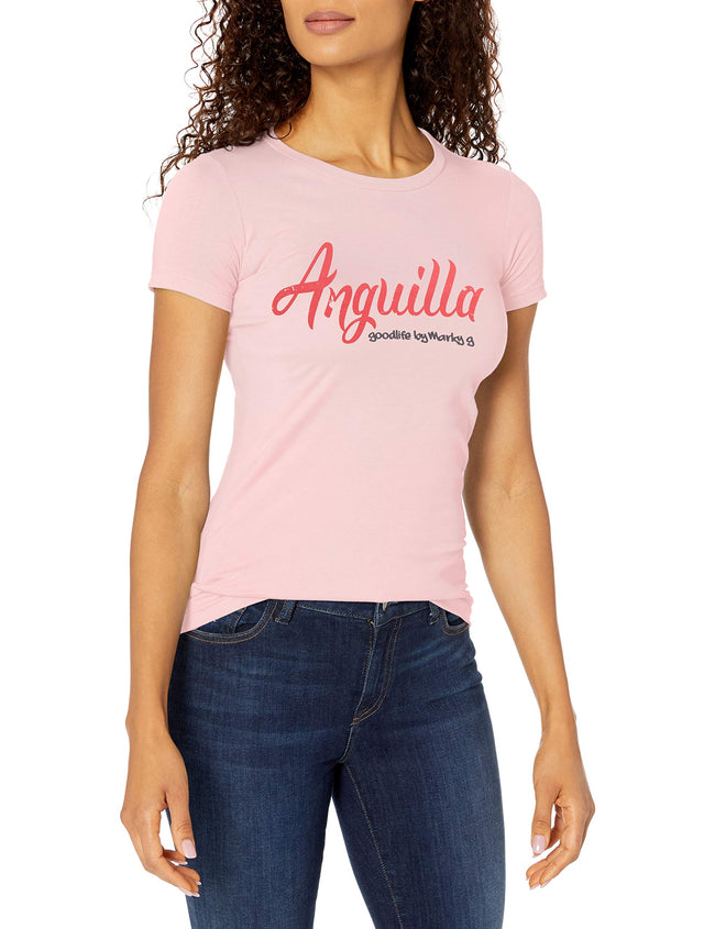 Marky G Apparel Women's Casual Short Sleeve Crewneck Tops Blouses Slim Fit T-Shirt With Anguilla Printed - Clementine Apparel