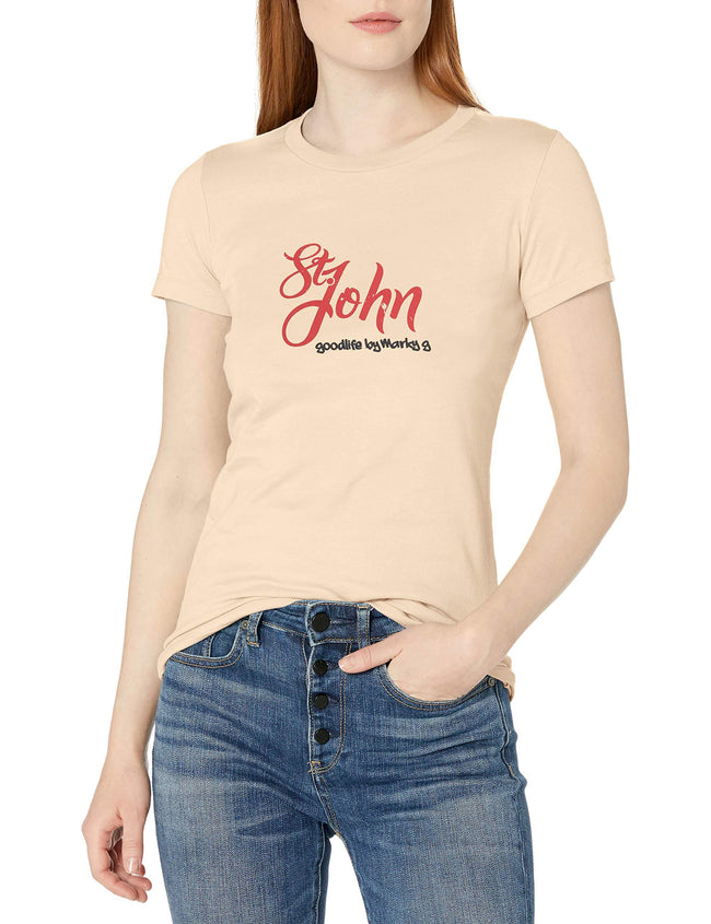 Marky G Apparel Women's Casual Short Sleeve Crewneck Tops Slim Fit T-Shirt With St. John's Printed - Clementine Apparel
