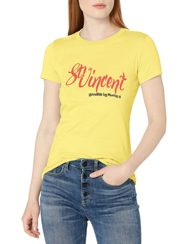 Marky G Apparel Women's Short Sleeve Crewneck Tops Slim Fit T-Shirt With St.Vincent & Grenadines Printed - Clementine Apparel