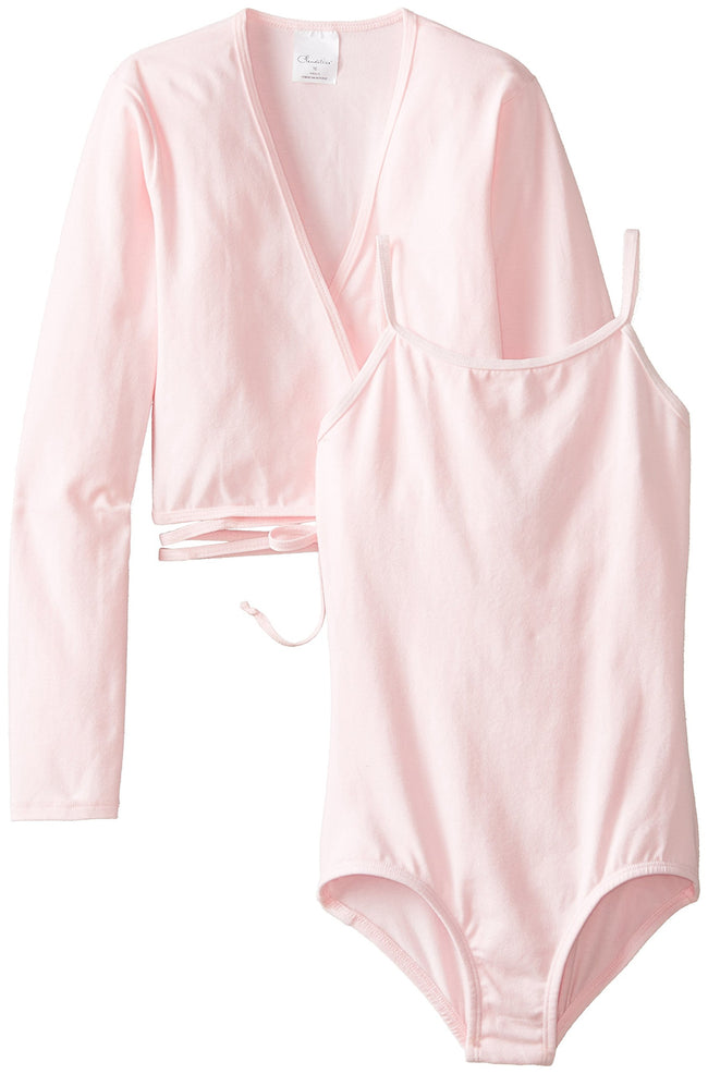 Clementine Big Girls' Girls Leotard and Long Sleeve Wrap Sweater Bundle - Clementine Apparel