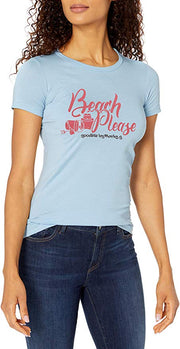 Marky G Apparel - Women's Casual Short Sleeve Crewneck Tops Slim Fit T-Shirt with Beach Please Printed - Clementine Apparel
