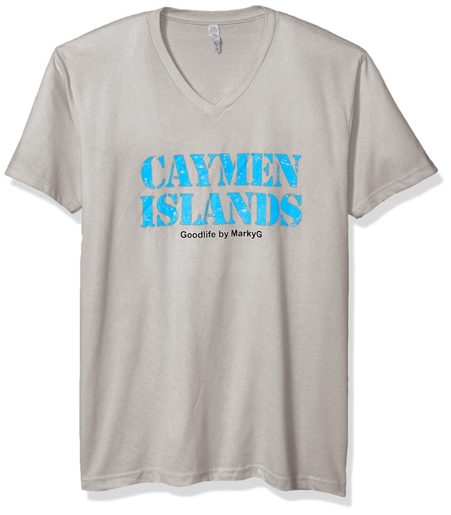 Marky G Apparel Men's Cayman Islands Graphic Printed Premium Tops Fitted Sueded Short Sleeve V-Neck T-Shirt - Clementine Apparel