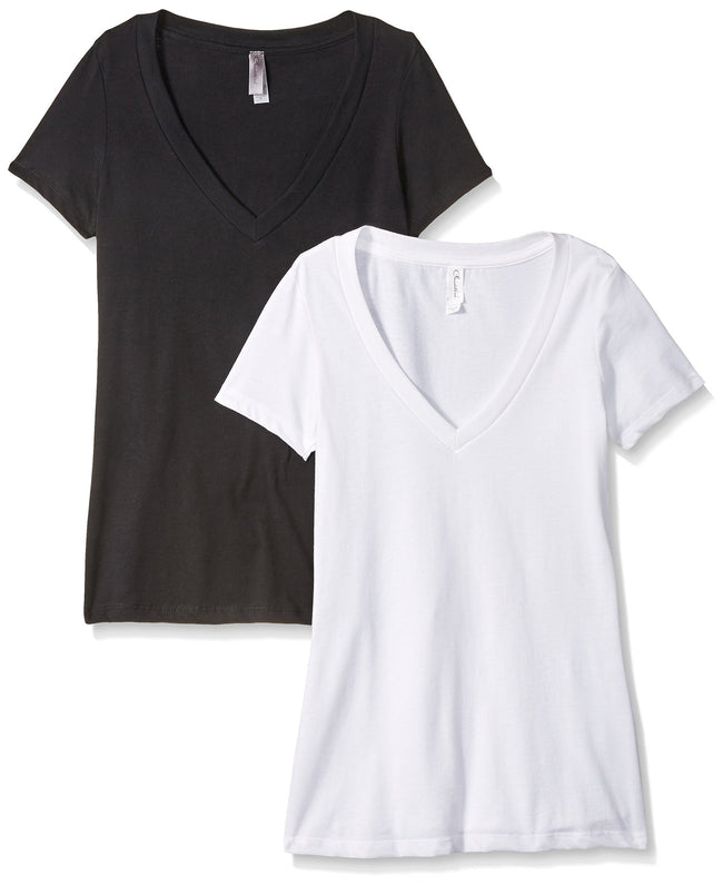Clementine Women's Petite Plus Deep V Neck Tee (Pack of 2) - Clementine Apparel