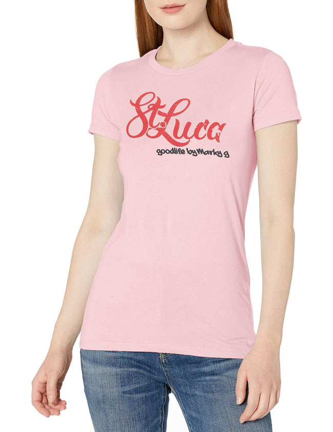 Marky G Apparel Women's Casual Short Sleeve Crewneck Tops Blouses Slim Fit T-Shirt With St. Luca Printed - Clementine Apparel