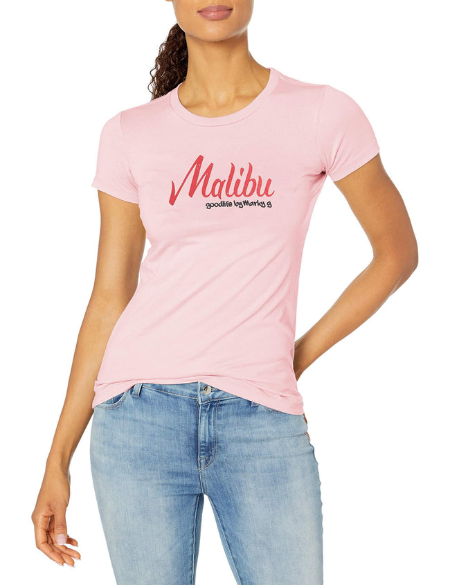 Marky G Apparel Women's Casual Short Sleeve Crewneck Tops Blouses Slim Fit T-Shirt With Malibu Printed - Clementine Apparel