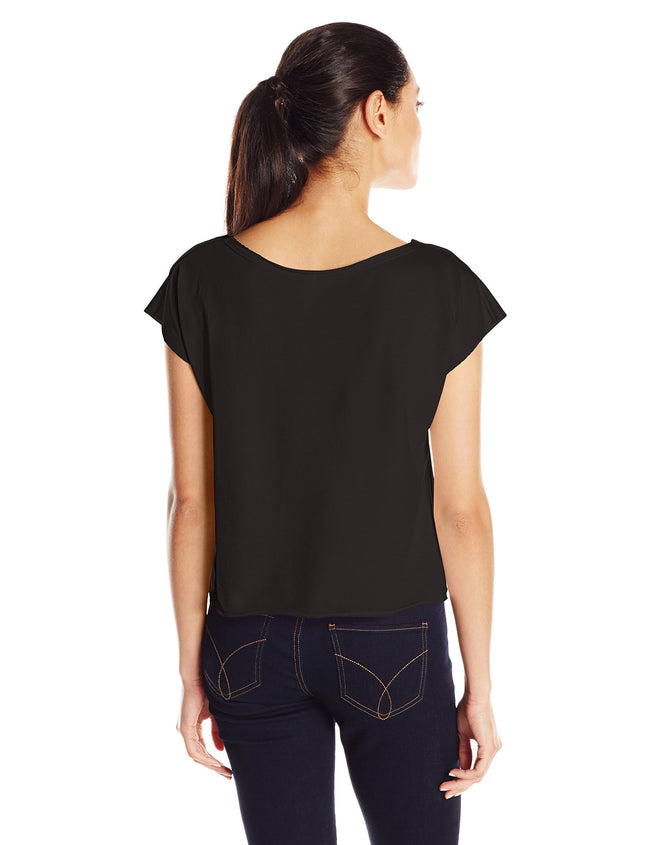 Clementine Women's Light Weight French Terry Dolman Sleeve Top, Black, Small - Clementine Apparel