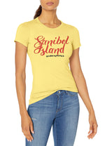 Marky G Apparel Women's Casual Short Sleeve Crewneck Tops Slim Fit T-Shirt With Sanibel Island Printed - Clementine Apparel