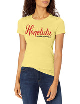 Marky G Apparel Women's Casual Short Sleeve Crewneck Tops Blouses Slim Fit T-Shirt With Honolulu Printed - Clementine Apparel