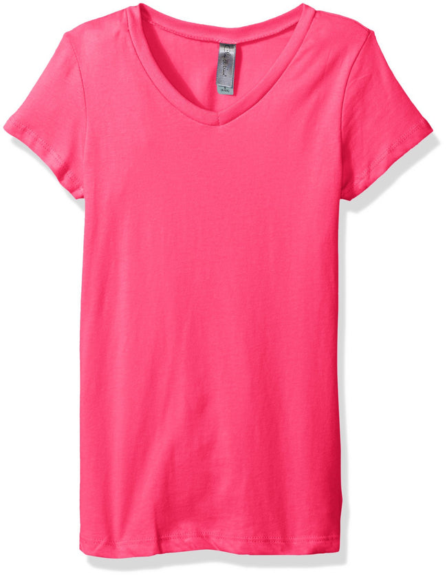 Clementine Big Girls' Everyday Short-Sleeve Princess V-Neck Tee - Clementine Apparel