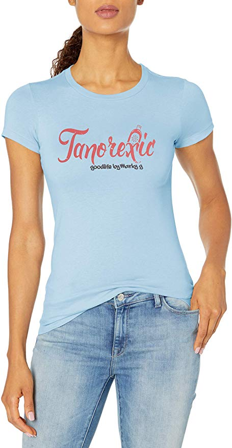 Marky G Apparel - Women's Casual Short Sleeve Crewneck Tops Slim Fit T-Shirt with Tanorexic Printed - Clementine Apparel