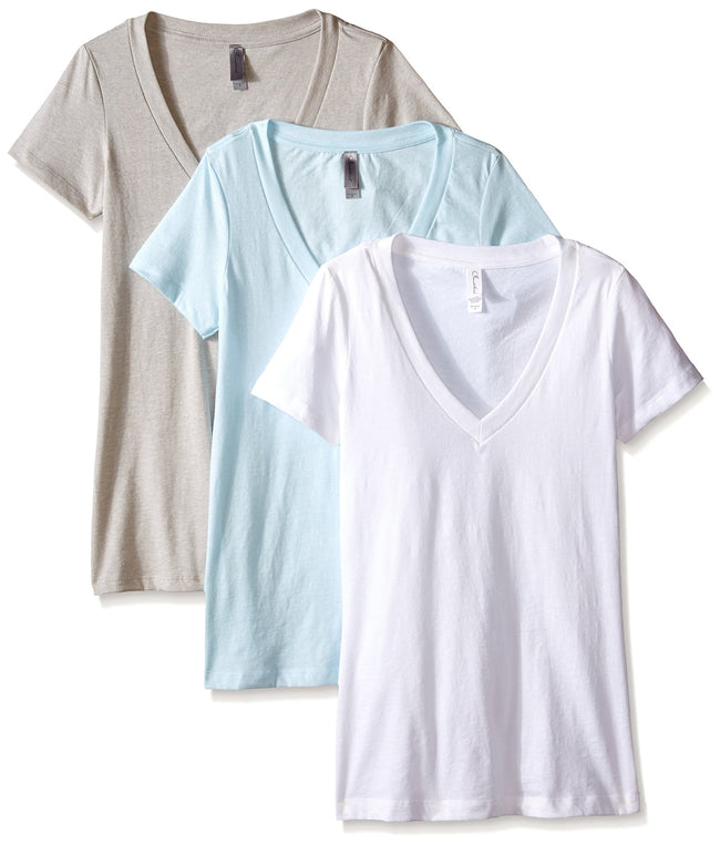 Clementine Women's Petite Plus Deep V Neck Tee (Pack of 3) - Clementine Apparel
