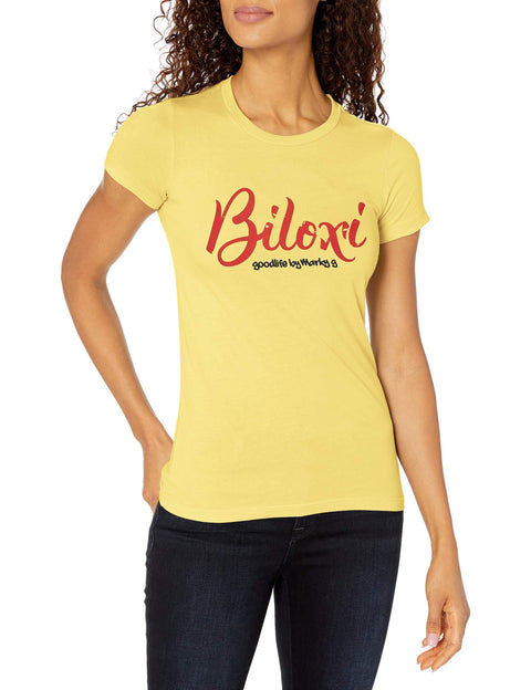 Marky G Apparel Women's Casual Short Sleeve Crewneck Tops Blouses Slim Fit T-Shirt With Biloxi Printed - Clementine Apparel