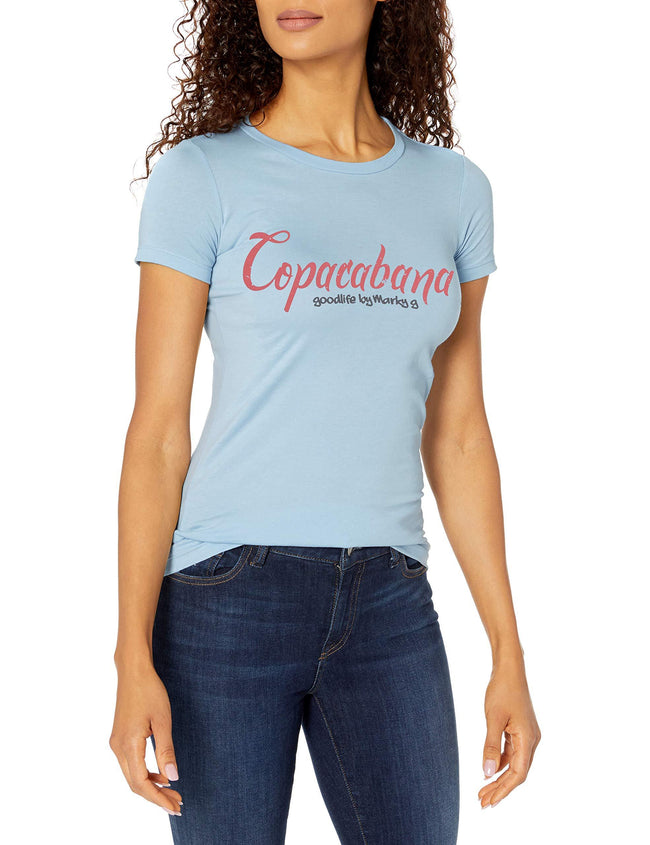 Marky G Apparel Women's Casual Short Sleeve Crewneck Tops Slim Fit T-Shirt With Copacabana Printed - Clementine Apparel