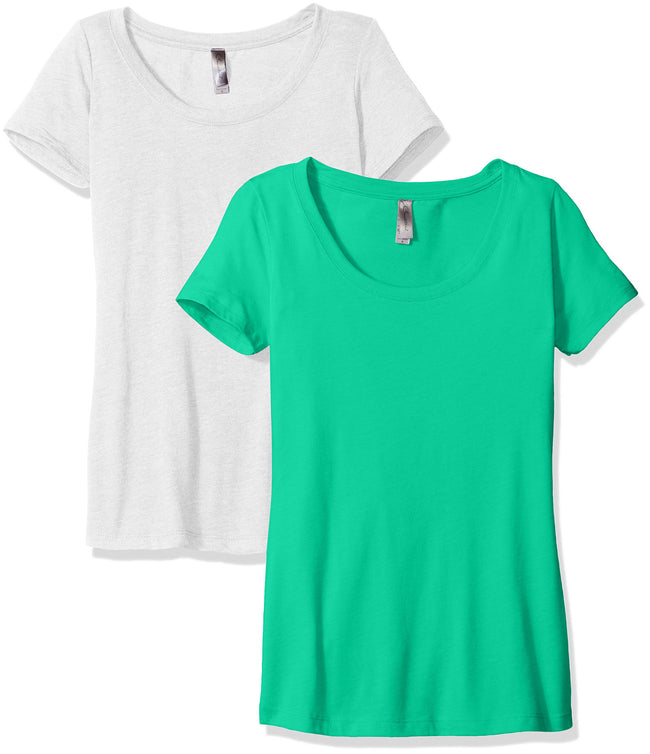Clementine Women's Petite Plus Tri-Blend Scoop Neck Tee (Pack of 2) - Clementine Apparel