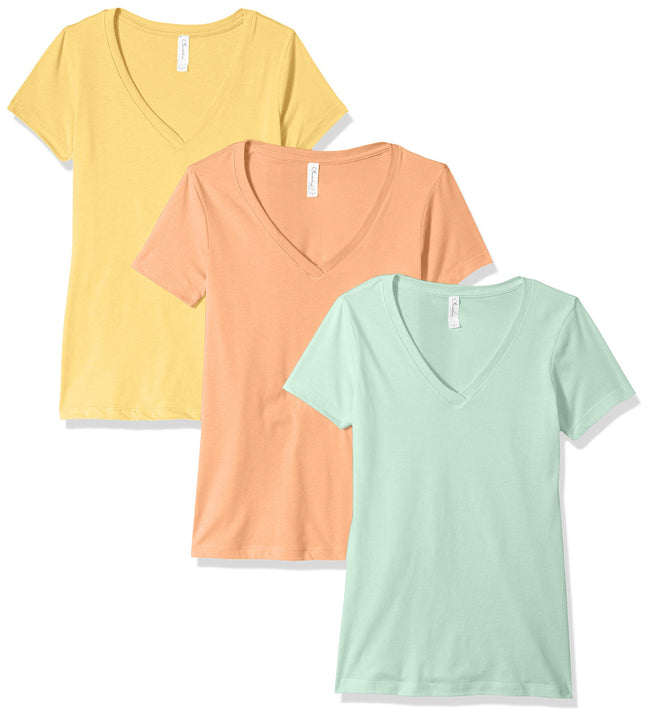 Clementine Women's Petite Plus Ideal V Neck Tee (Pack of 3) - Clementine Apparel